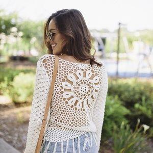 Neely Crochet Fringe Bell Sleeve Pullover